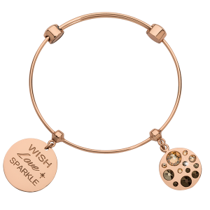 Nikki Lissoni rose gold bangle with two charms